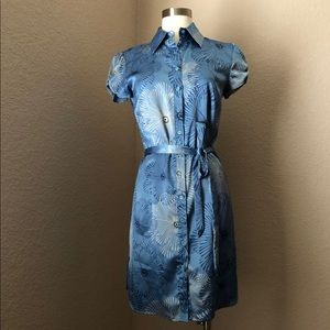 Blue Geometric Floral Collared Button Up Dress